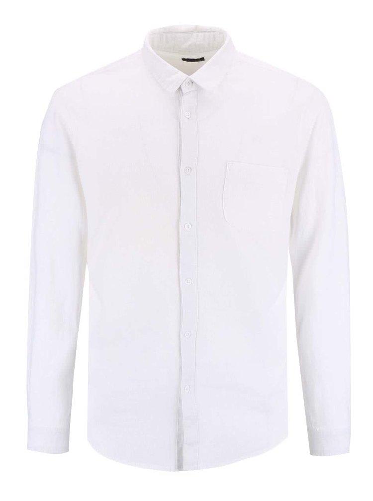 Biela ľanová košeľa s náprsným vreckom !Solid Baron