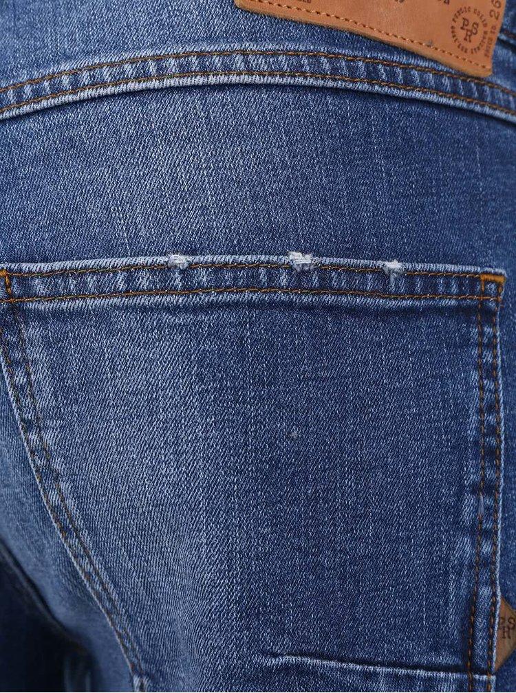 Modré rifľové slim fit kraťasy !Solid Lt Joy Stretch