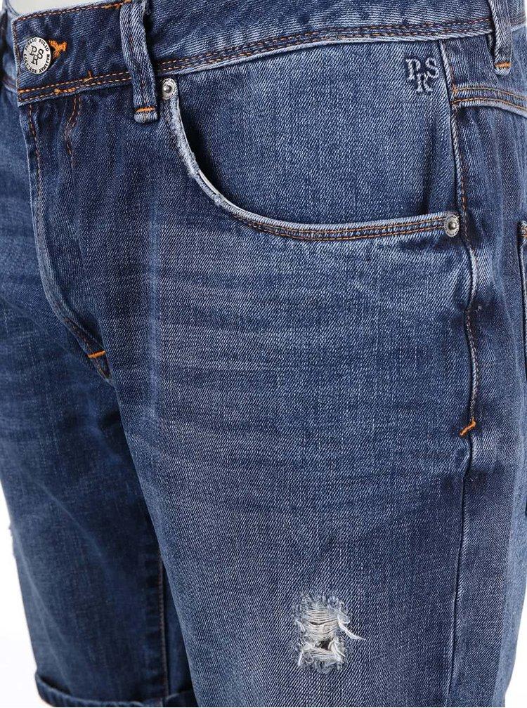 Modré rifľové kraťasy regular fit s potrhanou aplikáciou !Solid Lt Rov