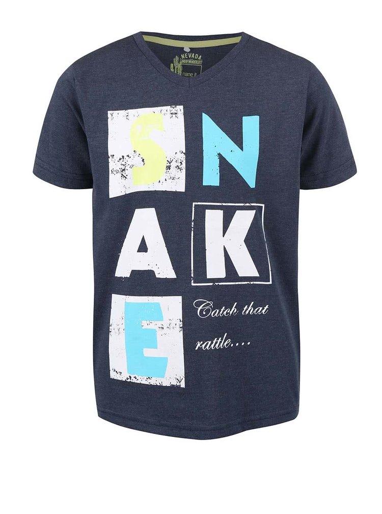 Tmavomodré chlapčenské tričko s nápisom name it Huffe