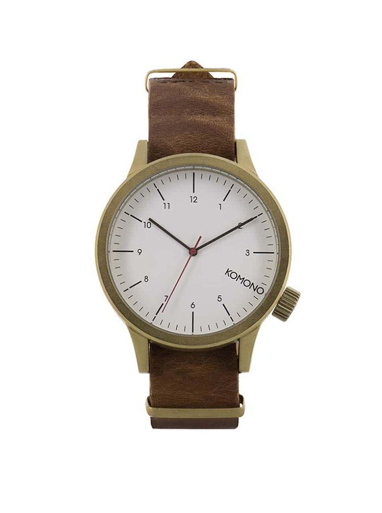Unisex hodinky v zlatej farbe s koženým remienkom Komono Magnus