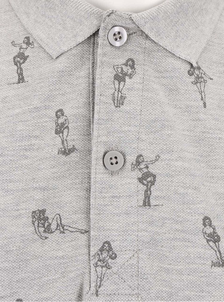 Světle šedé polo triko s potiskem ONLY & SONS Sinclair