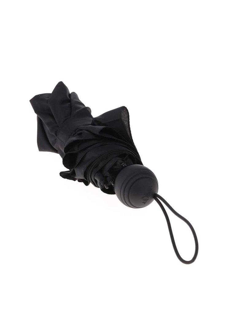Černý skládací deštník s.Oliver