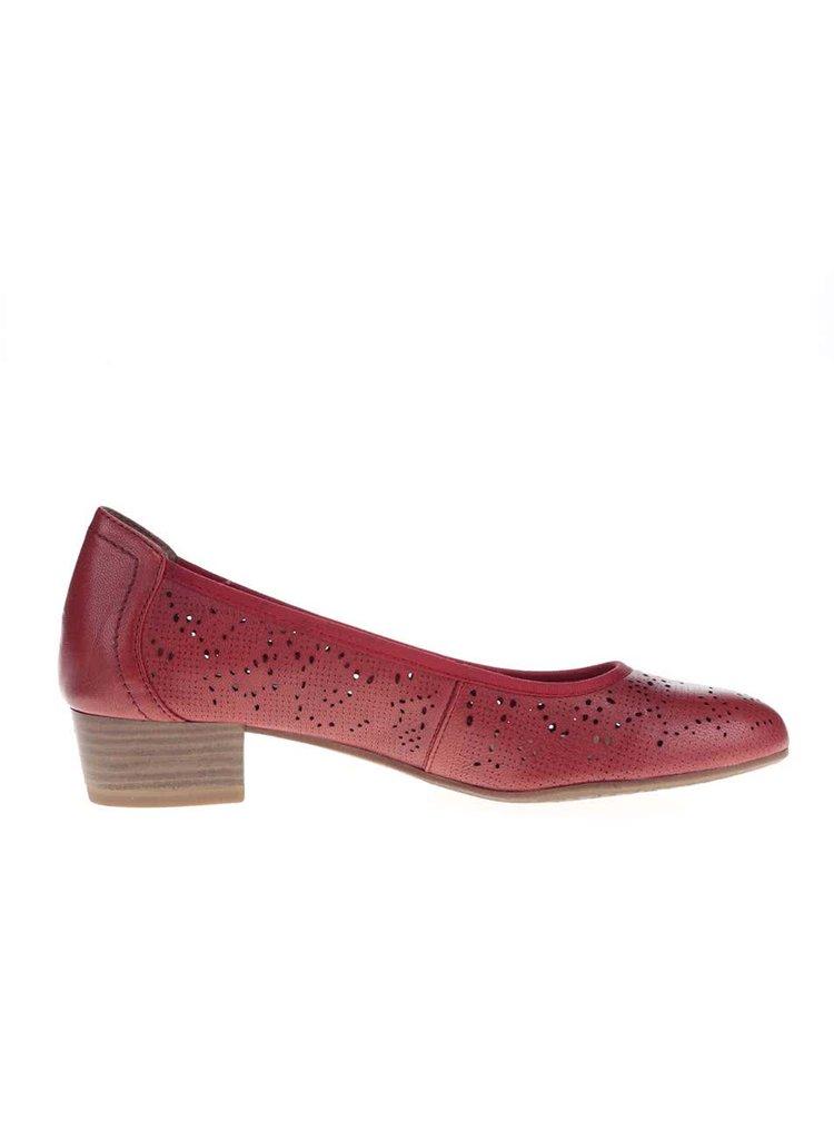 Červené kožené perforované baleríny na nízkém podpatku Tamaris