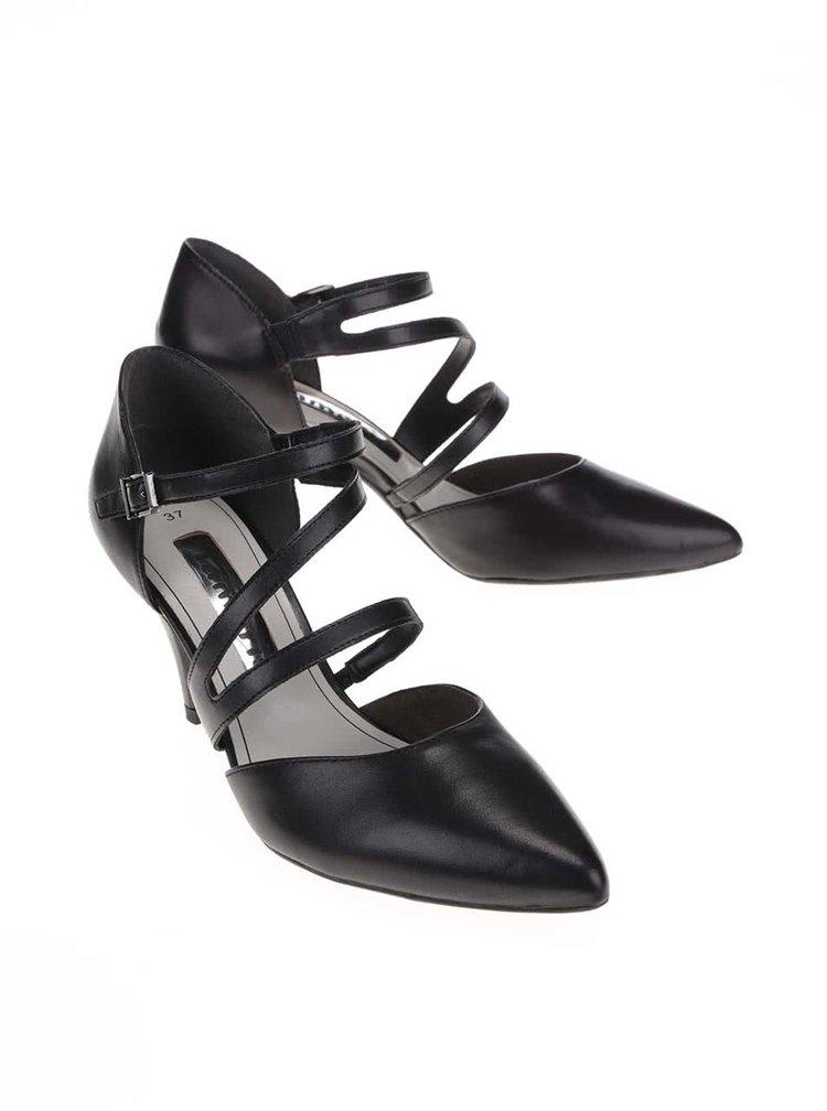 Sandale Tamaris negre cu toc din piele