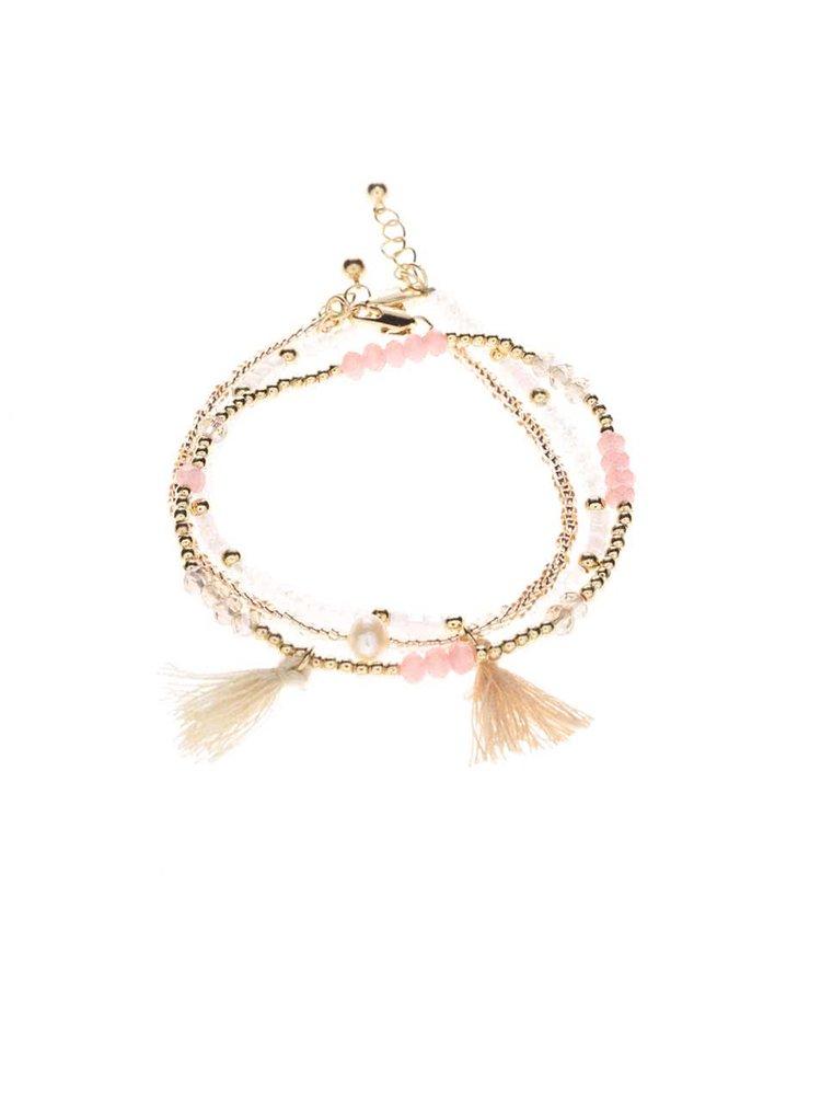 Růžový korálkový náramek Pieces Belissa