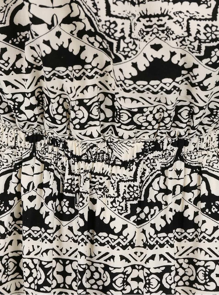 Rochie maxi ONLY Nova crem și negru cu imprimeu
