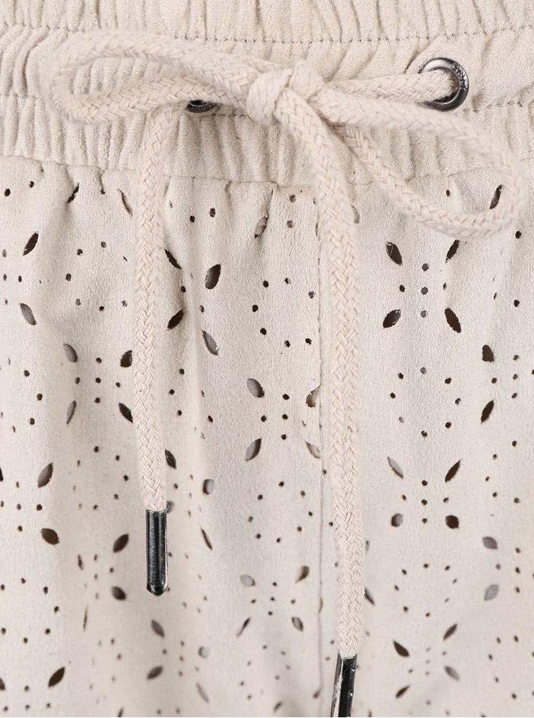 Béžové kraťasy s perforovaným vzorem ONLY Lola