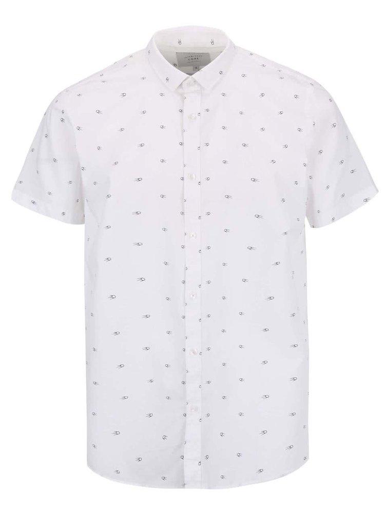 Bílá vzorovaná košile s krátkým rukávem Jack & Jones Mozz