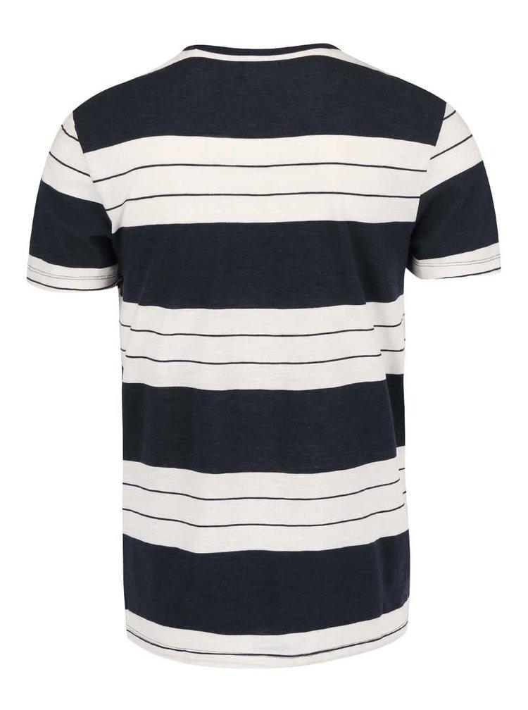 Krémovo-modré triko s pruhy Selected Homme Marl
