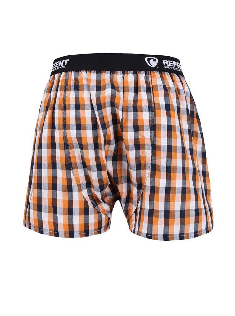 Boxeri Represent Mikebox în carouri portocalii și albastre