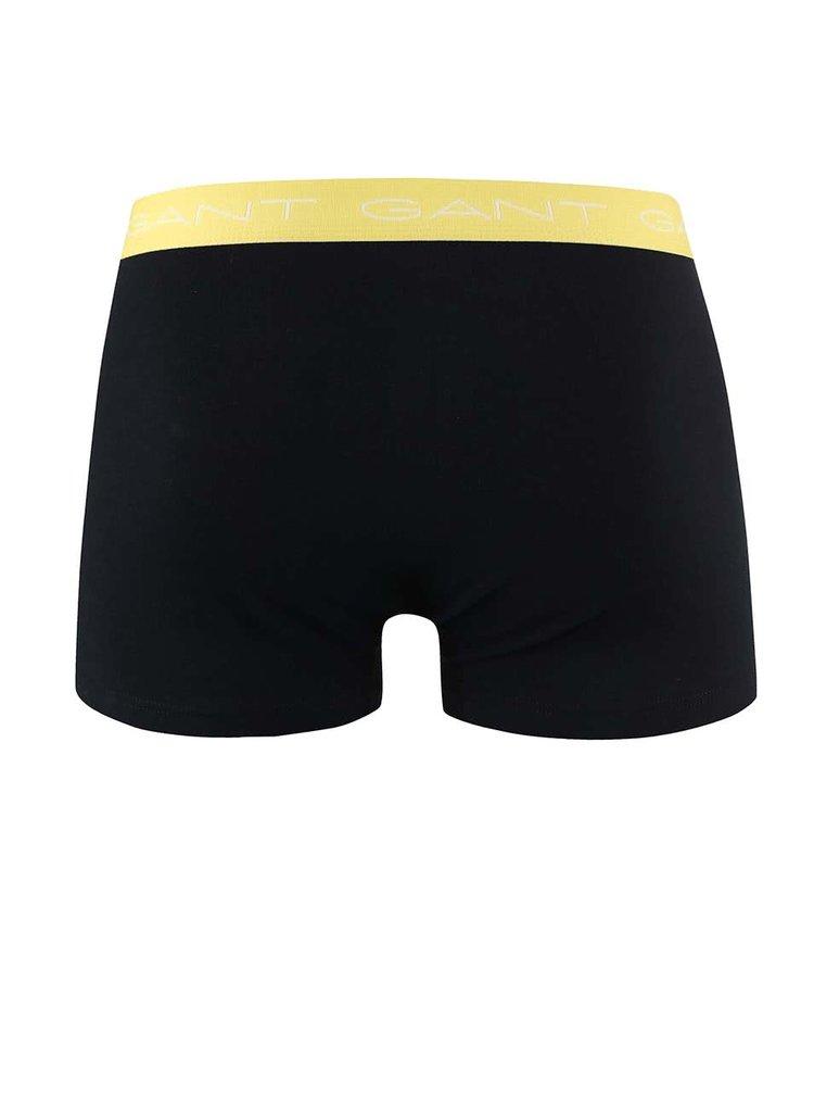 Sada tří černých boxerek s barevným pružným lemem GANT