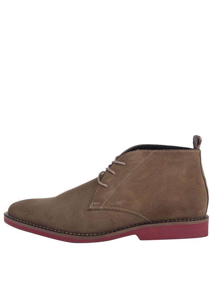 Svetlohnedé kožené členkové topánky Dice Payton