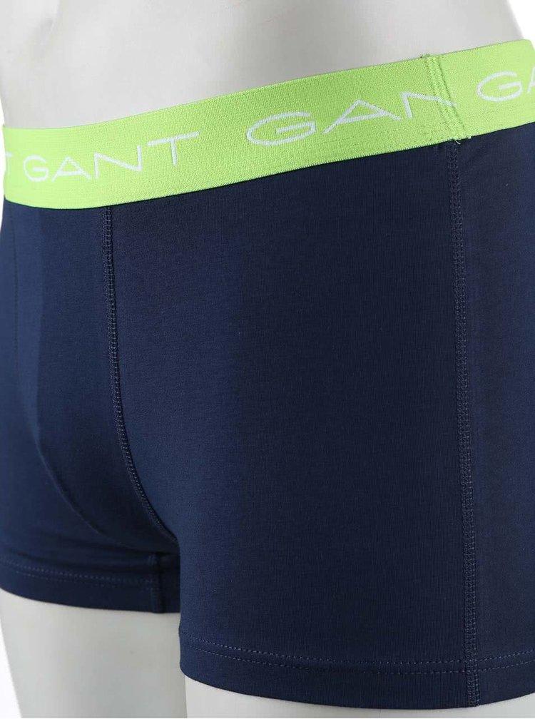 Sada tří tmavě modrých boxerek s barevným pružným lemem GANT
