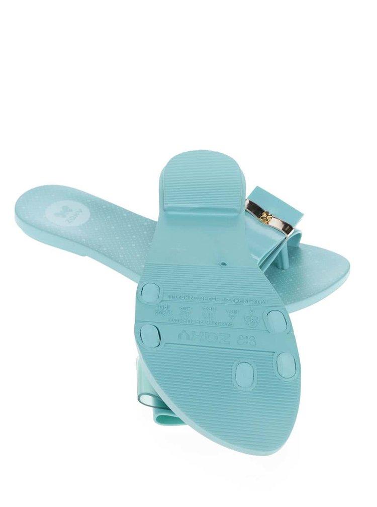 Mentolové plastové žabky s mašlí Zaxy Life Slide