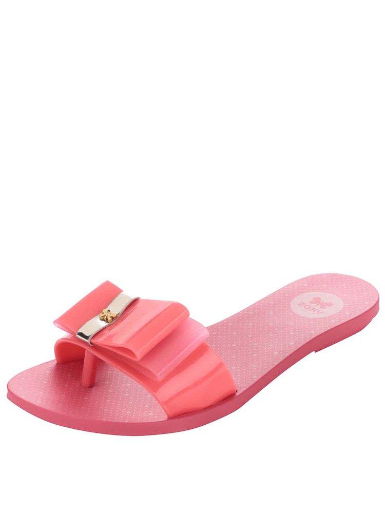 Růžové plastové žabky s mašlí Zaxy Life Slide