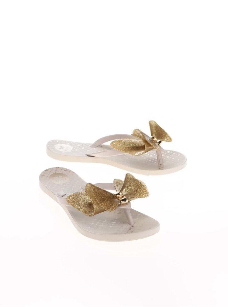 Béžové plastové žabky s mašlí ve zlaté barvě Zaxy Fresh Butterfly