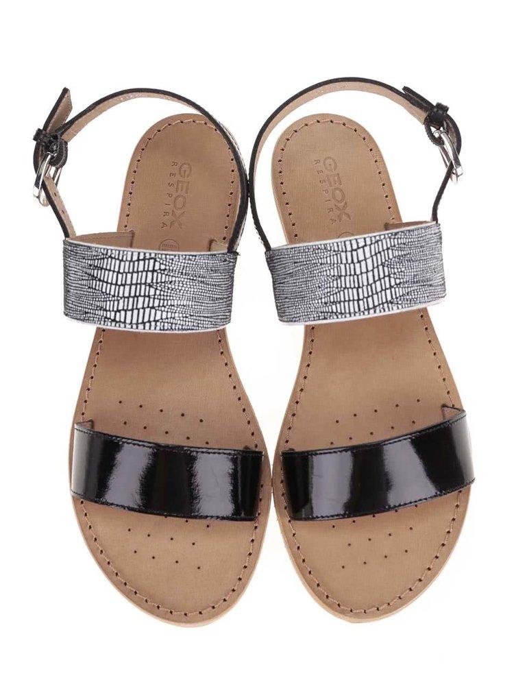 Čierne kožené sandále GEOX Sozy