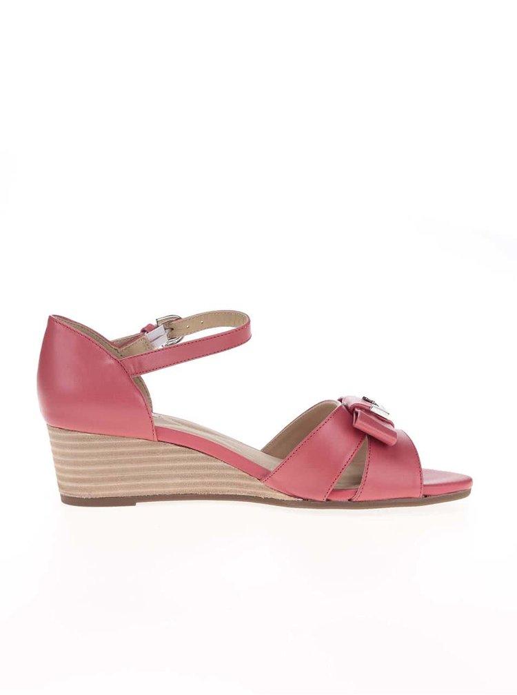 Tmavě růžové kožené sandálky na klínku GEOX Lupe
