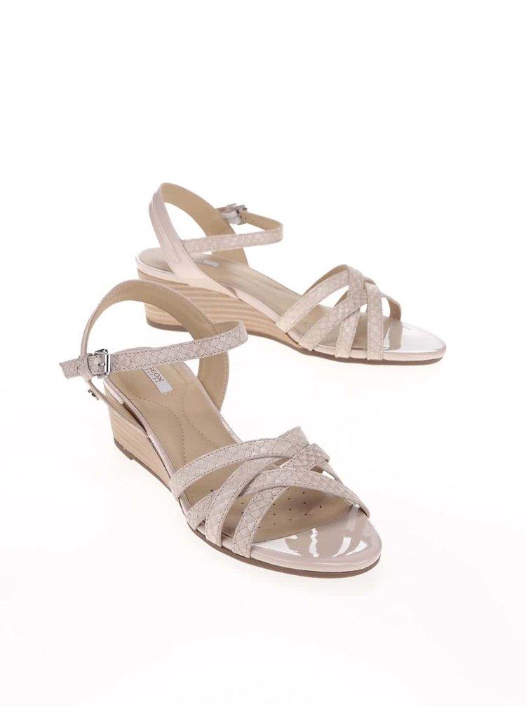 Sandale cu platforma GEOX Lupe bej din piele