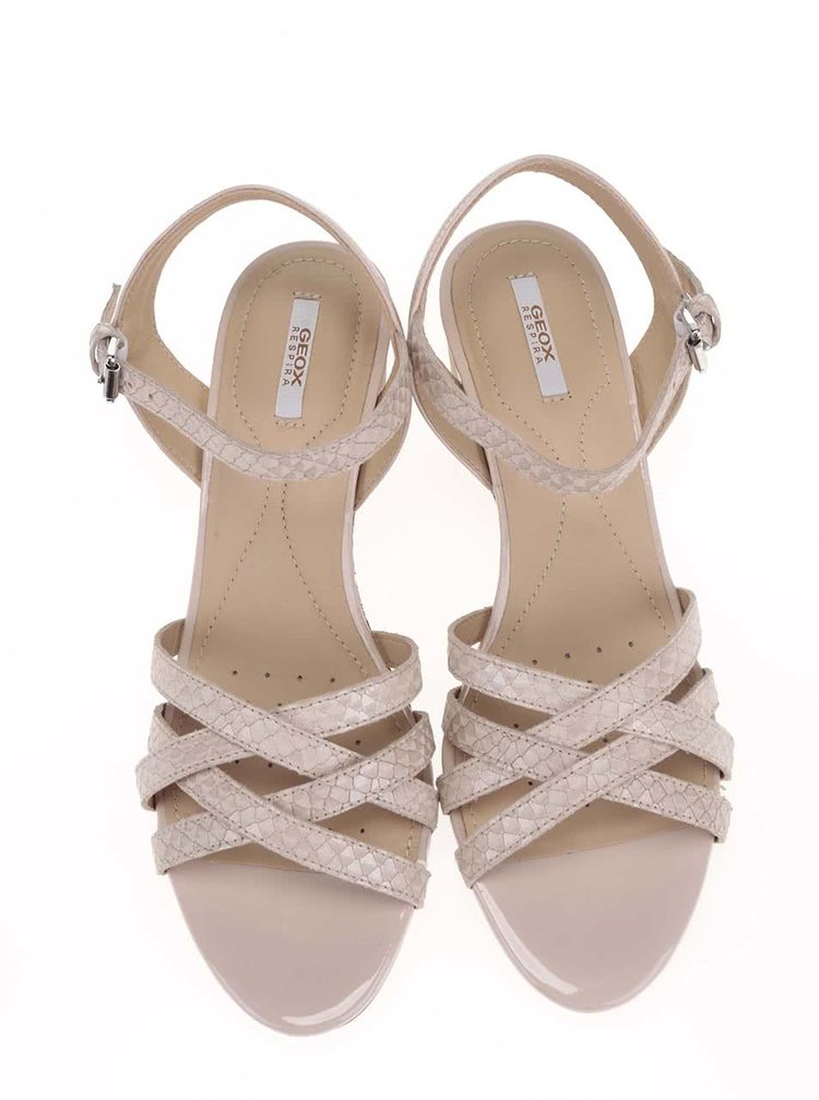 Tělové kožené sandálky na klínku GEOX Lupe