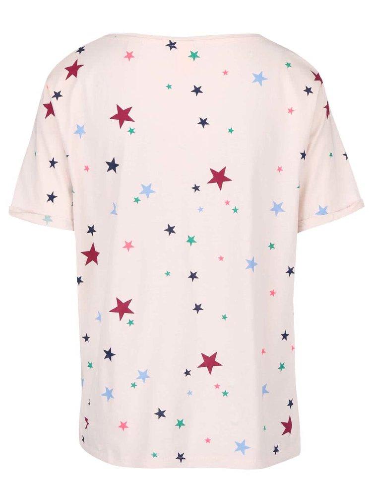 Tricou Maison Scotch roz deschis cu model stele