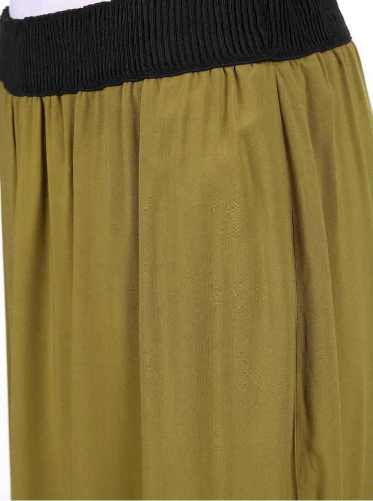 Hnedozelená dlhá sukňa s rozparkom VERO MODA Super Easy