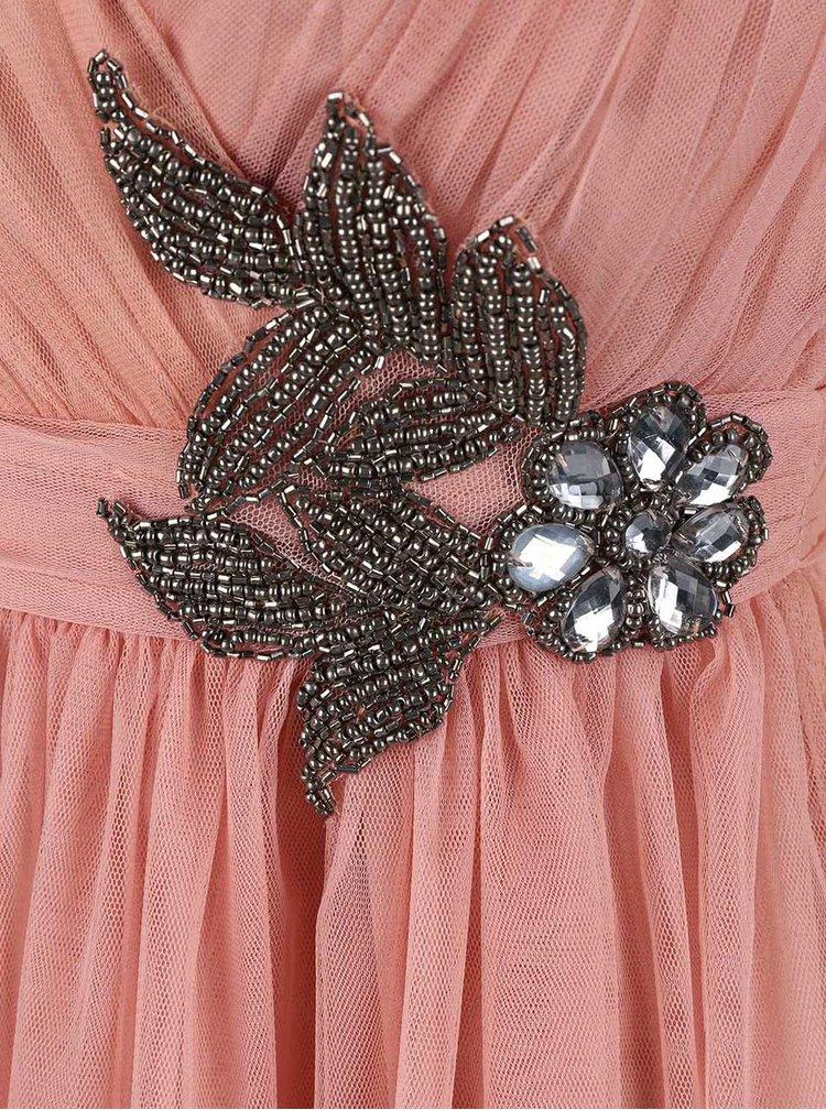 Ružové šaty s kvetovaným zdobením Little Mistress