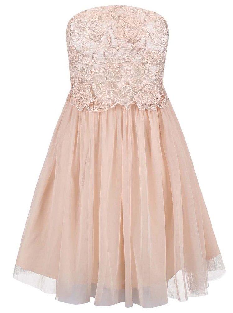 Svetloružové šaty s čipkovaným topom Little Mistress