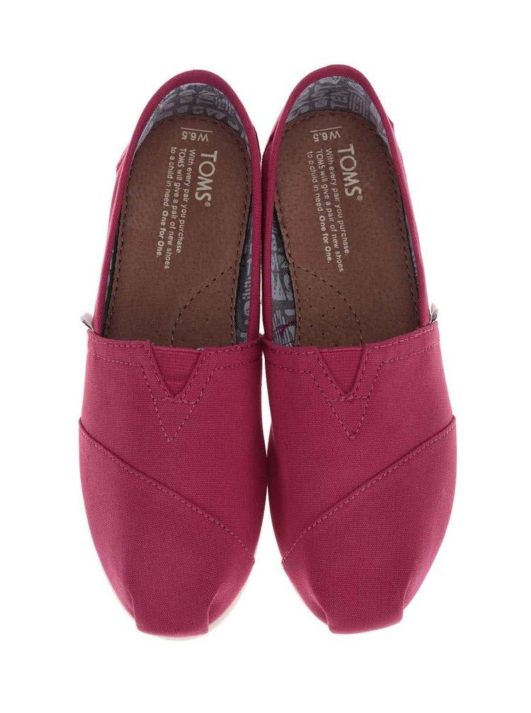 Tmavě růžové dámské loafers TOMS Classic