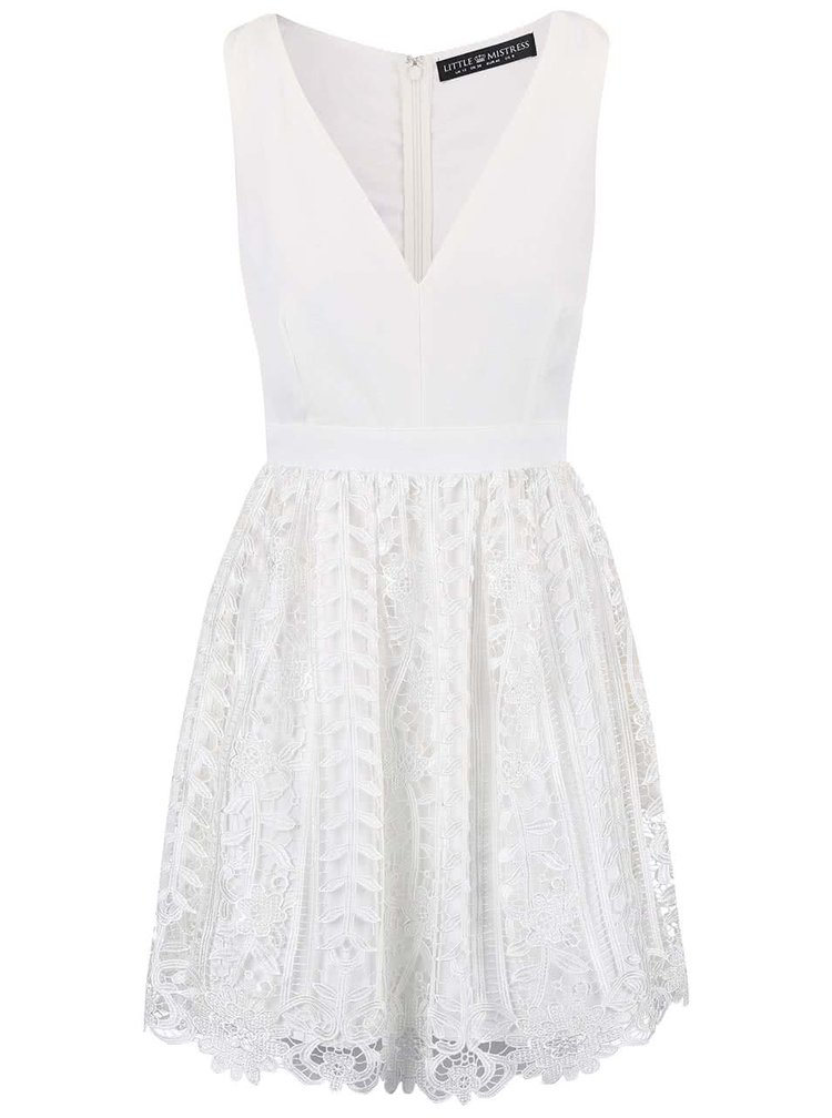 Bílé šaty s krajkovanou sukní Little Mistress