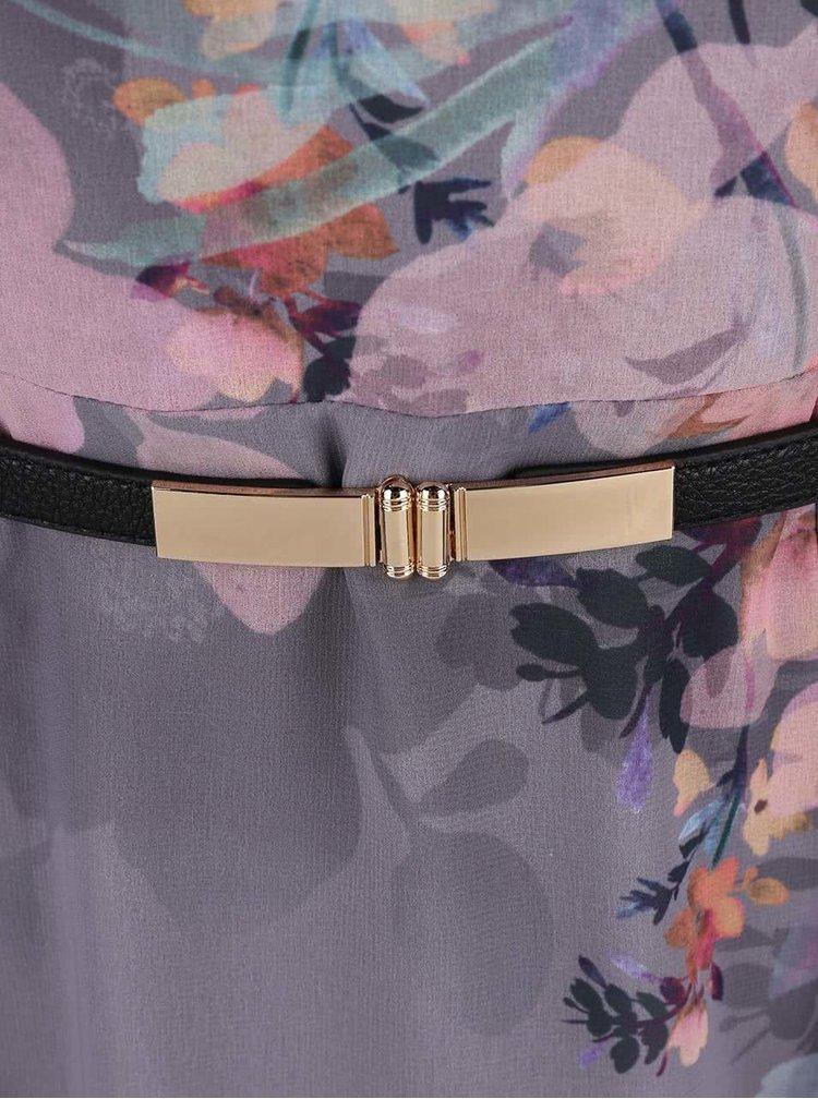 Šedé květované šaty s páskem Little Mistress