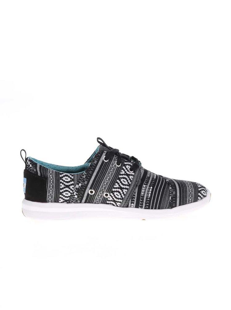 Pantofi sport Toms alb-negru cu model