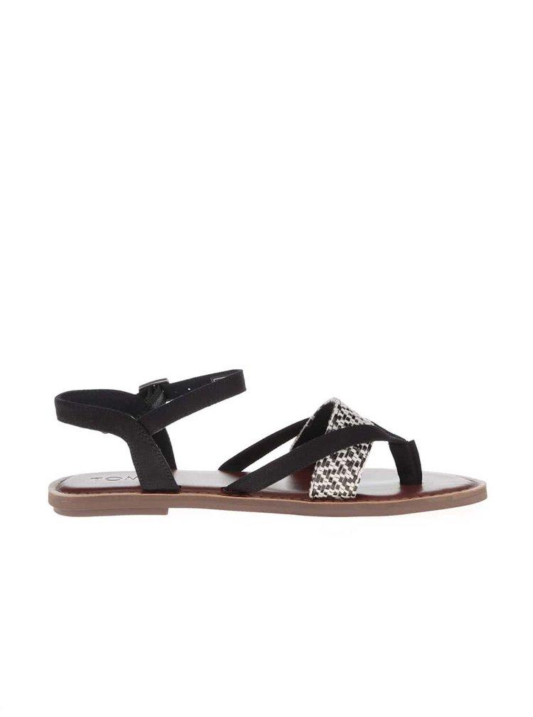 Bílo-černé dámské sandály s hnědou podrážkou TOMS Lexie