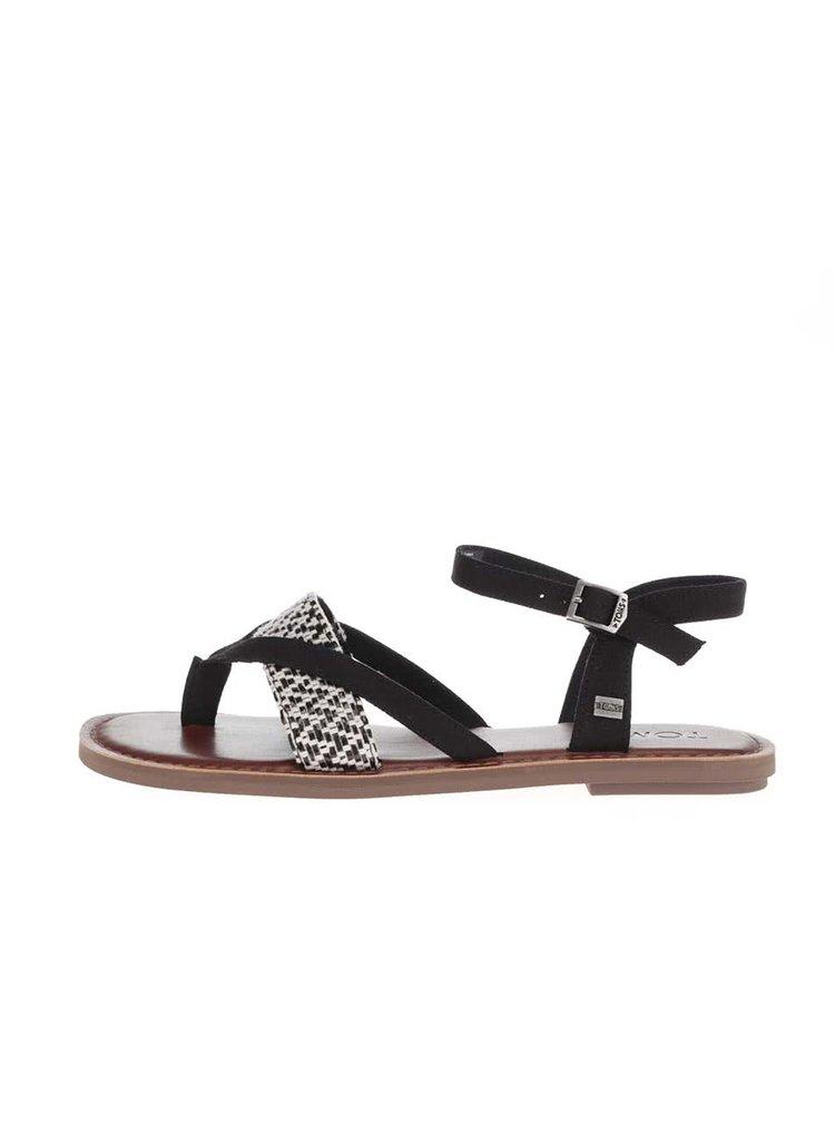 Sandale Toms Lexie negre cu model alb