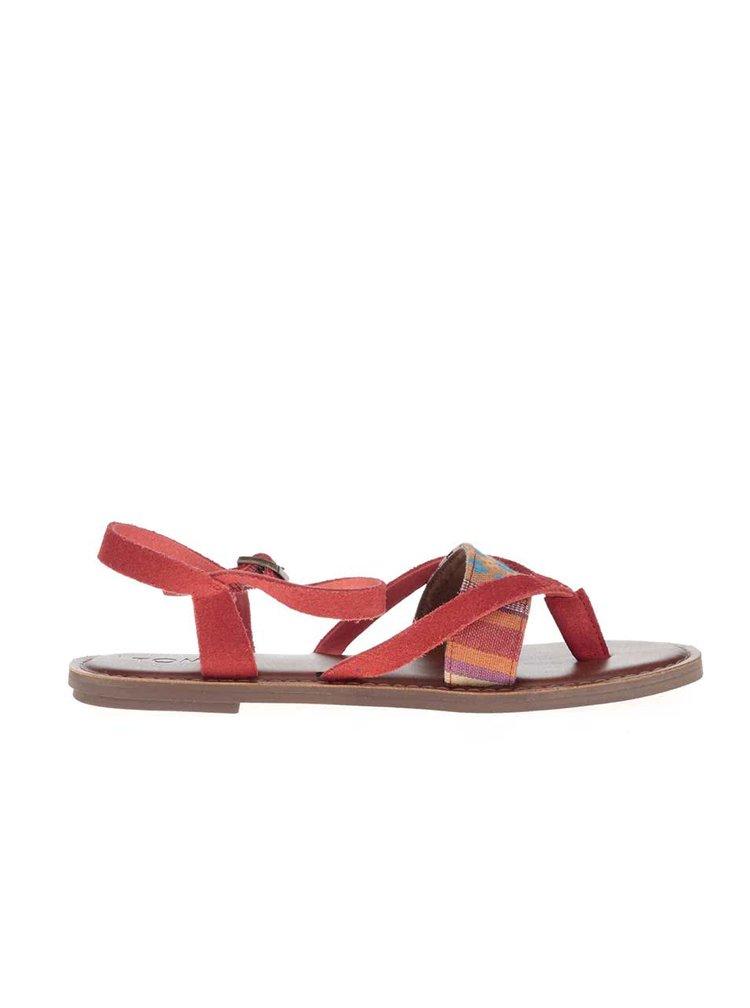 Červené sandálky s hnědou podrážkou TOMS