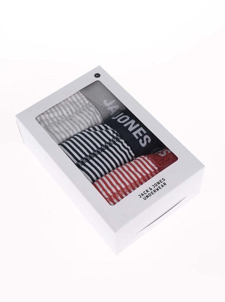 Súprava troch farebných pruhovaných boxeriek Jack & Jones Synchro