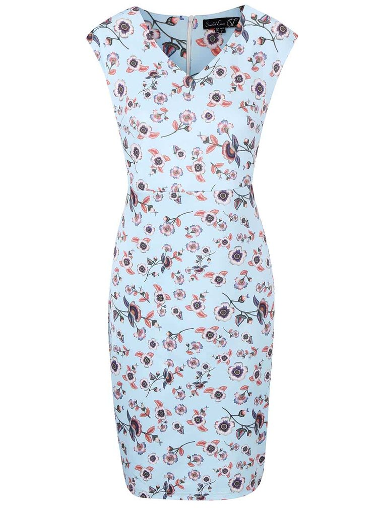 Světle modré šaty s květy Smashed Lemon