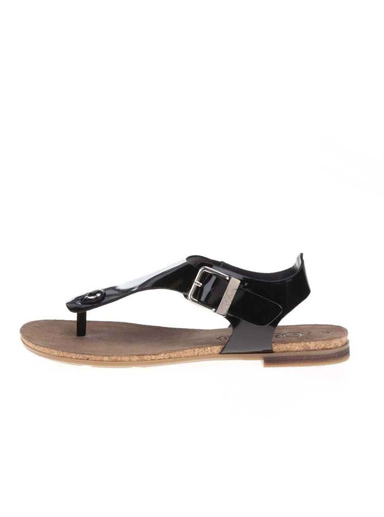 Sandale s.Oliver negre din piele lacuita