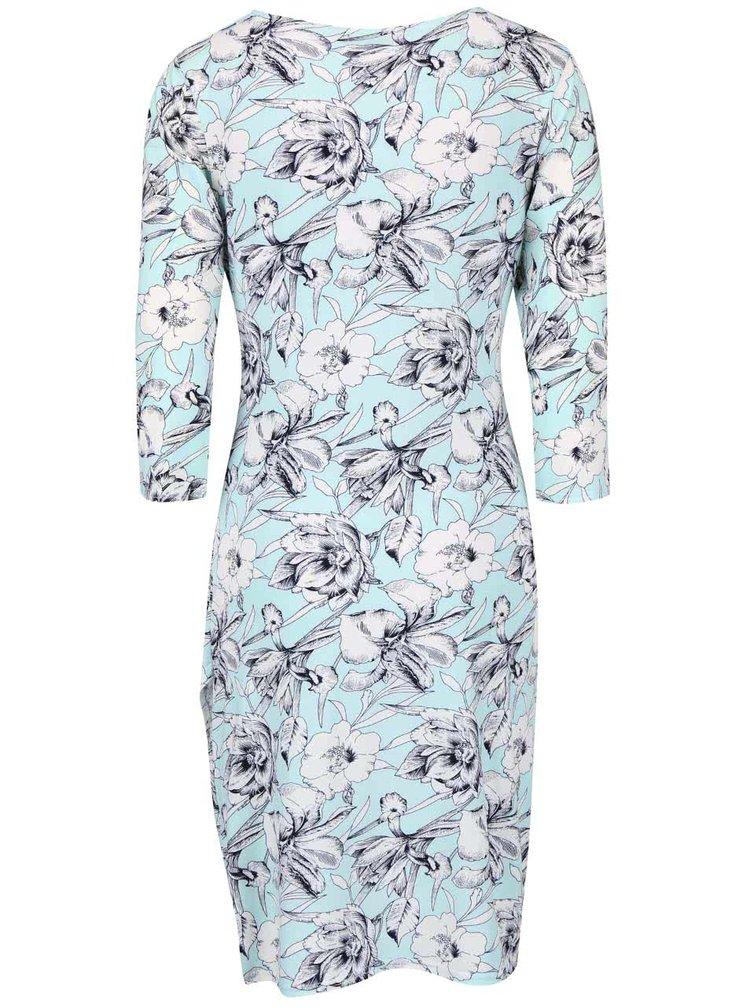 Mentolové květované šaty s 3/4 rukávem Smashed Lemon