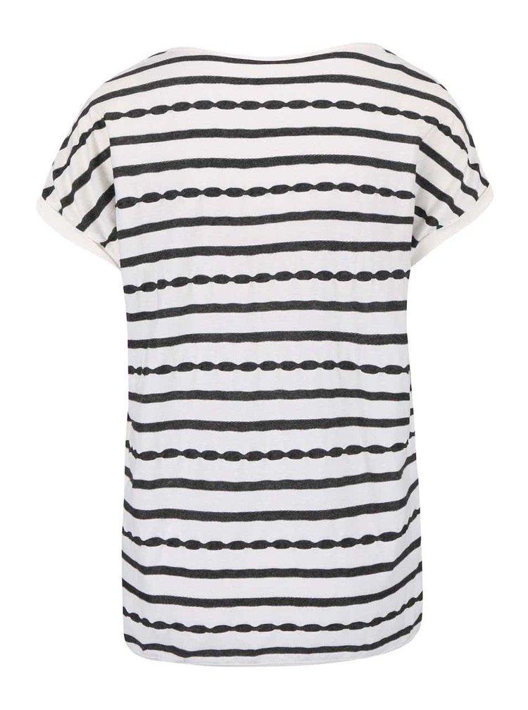 Krémové dámské tričko s pruhy s.Oliver