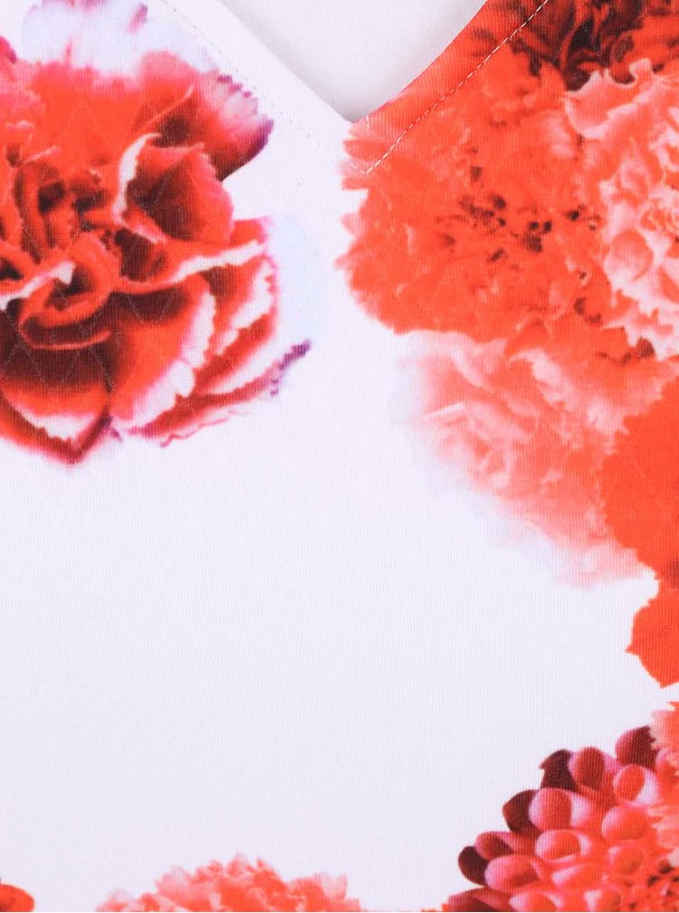 Bílé šaty s červenými květy Smashed Lemon