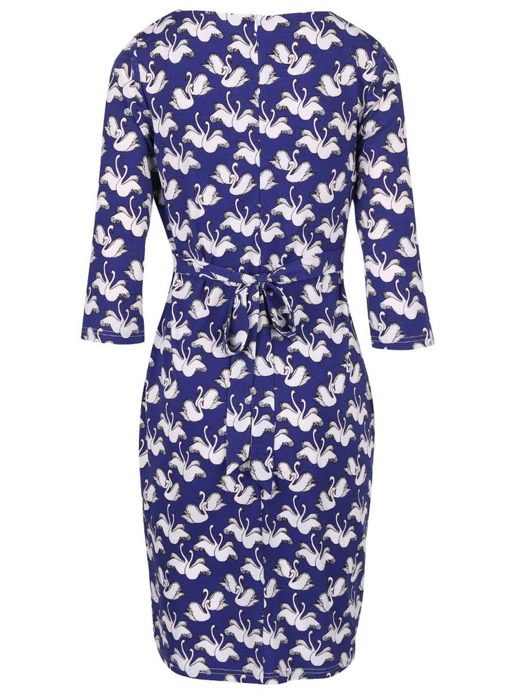 Modré šaty s potiskem labutí Smashed Lemon