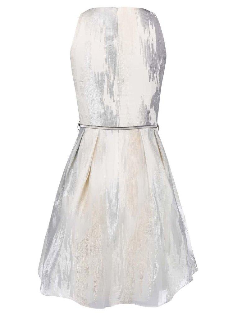 Bielo-sivé šaty s opaskom Little Mistress