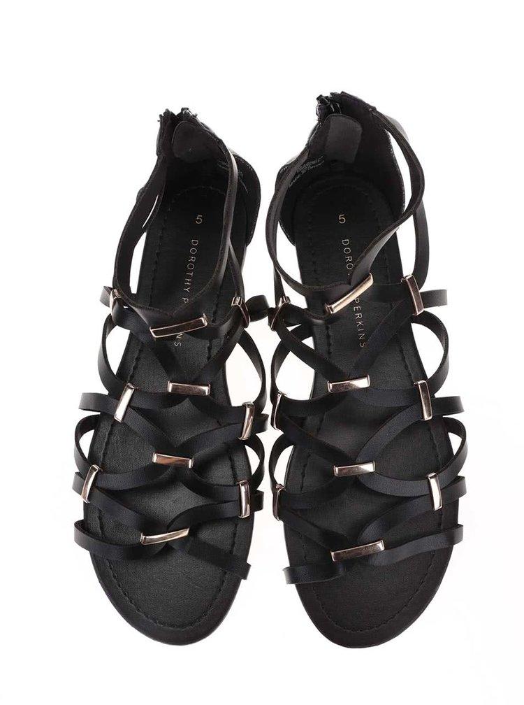Černé sandálky s detaily ve zlaté barvě Dorothy Perkins