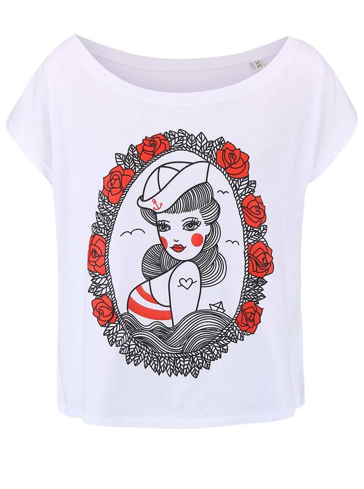 Tricou de dama cu print ZOOT Original Pin Up alb