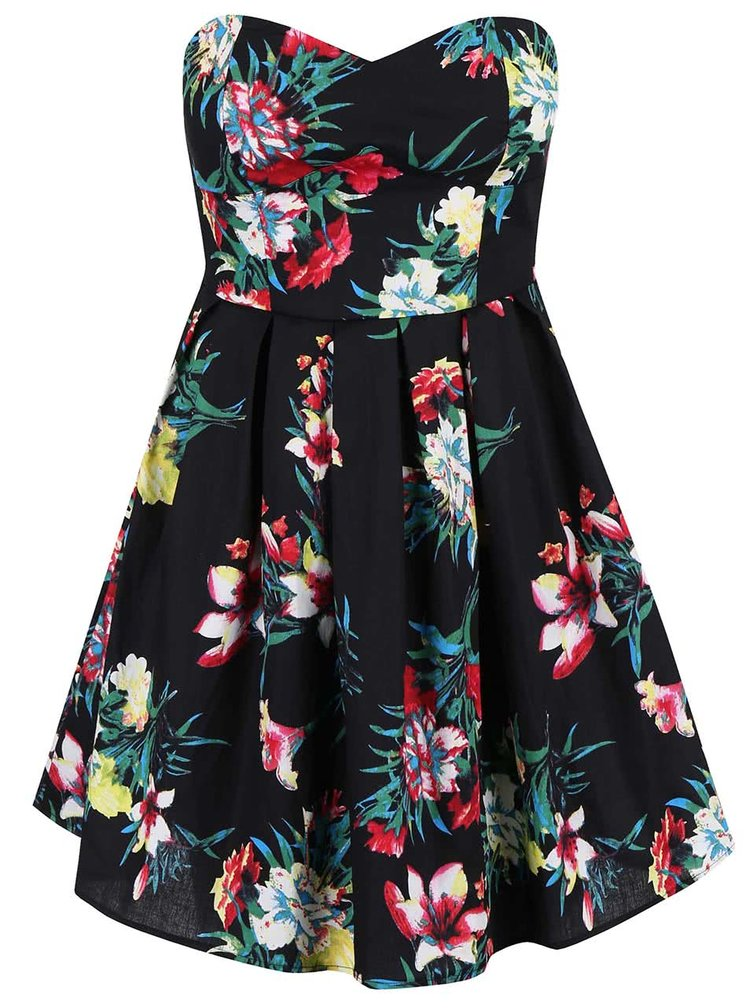 Čierne kvetinové šaty s odopínateľnými ramienkami Apricot