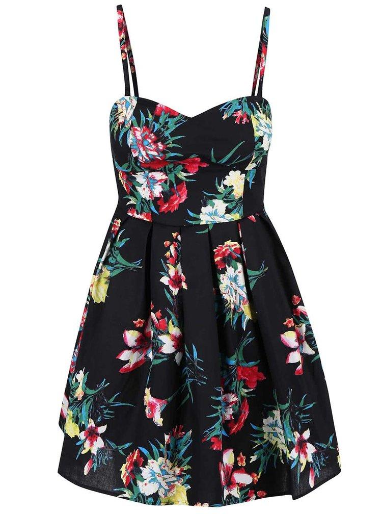 Rochie Apricot neagră cu model floral