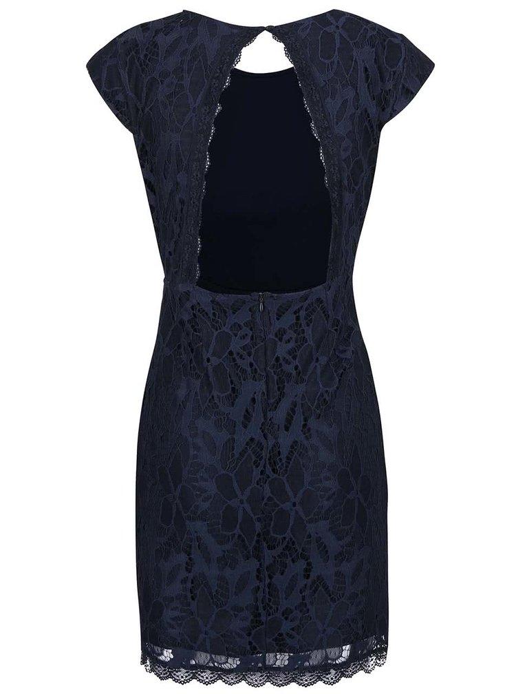 Tmavomodré čipkované šaty s vykrojeným chrbtom VERO MODA Lale