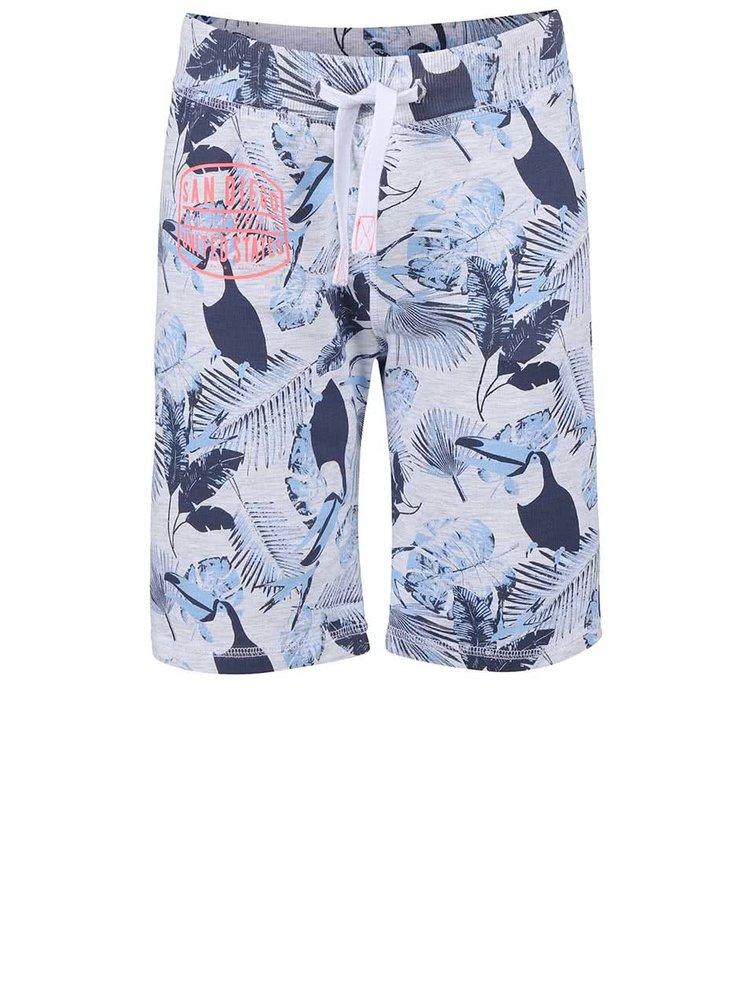 Modré chlapčenské šortky so vzorom tukana name it Tibo